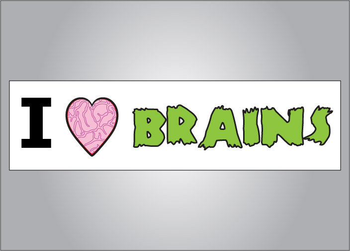 Zombies rejoice - we have a sticker just for you.  The I heart brains zombie bumper sticker is a great way to blend in or find other zombies.