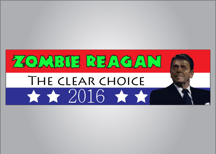 Zombie ronald reagan for president bumper sticker