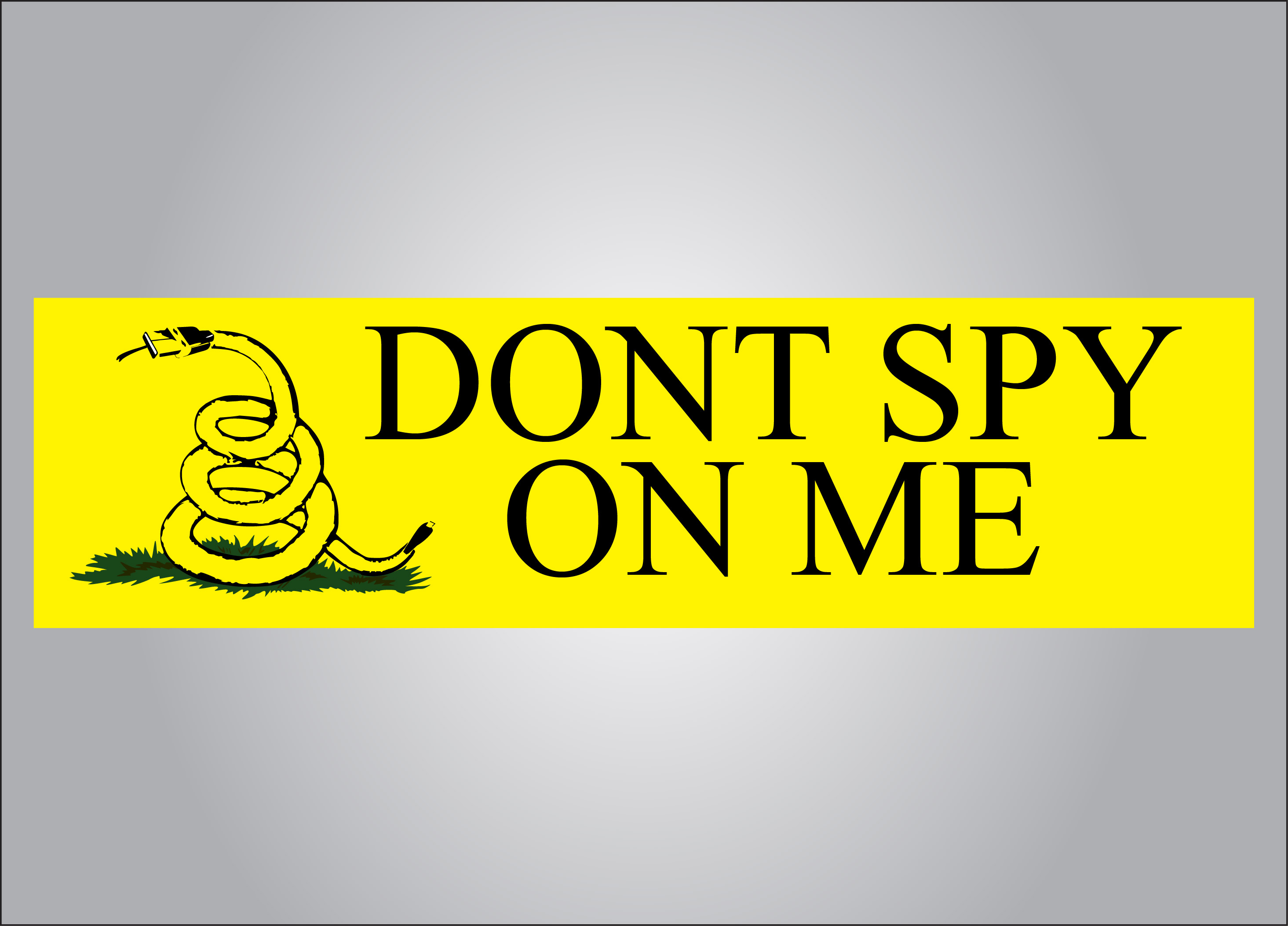 Don't spy on me sticker in the style of the Gadsden Flag.