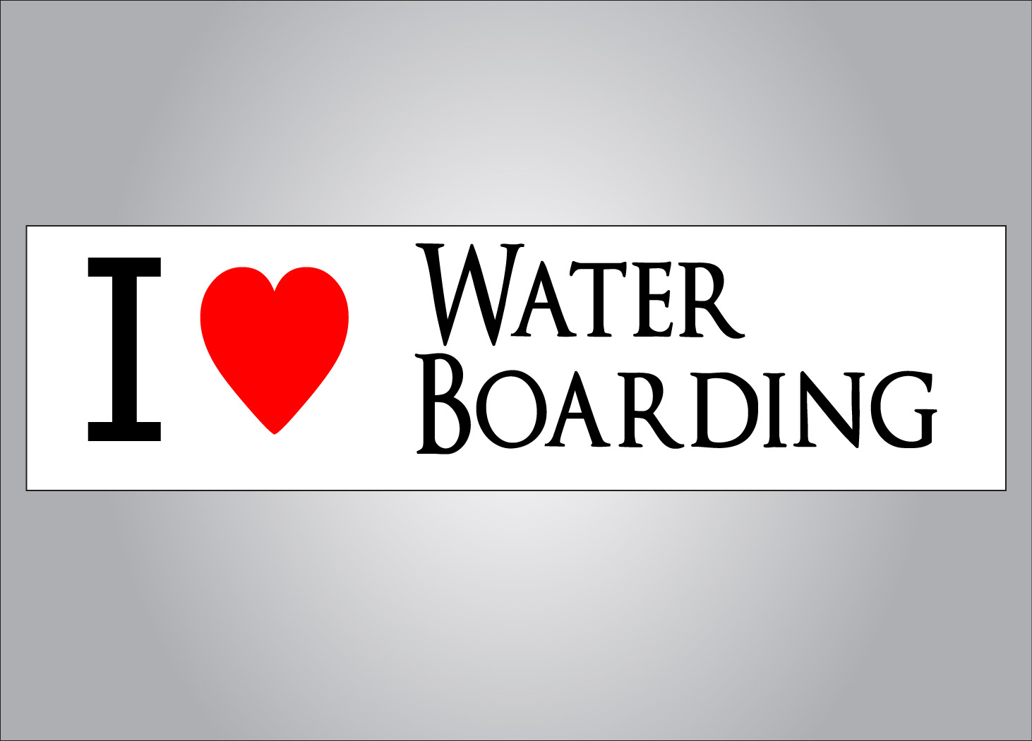 If you support water boarding get the I heart water boarding bumper sticker.