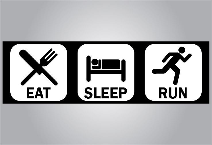 Eat sleep run bumper sticker